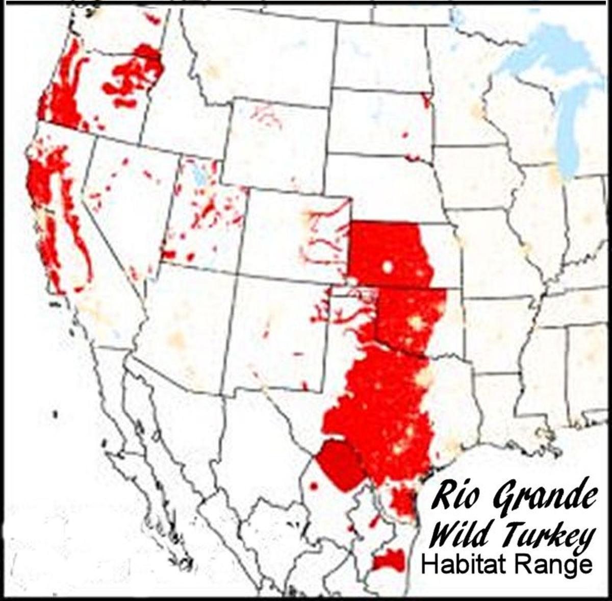 Rio Grande wild turkey habitat region