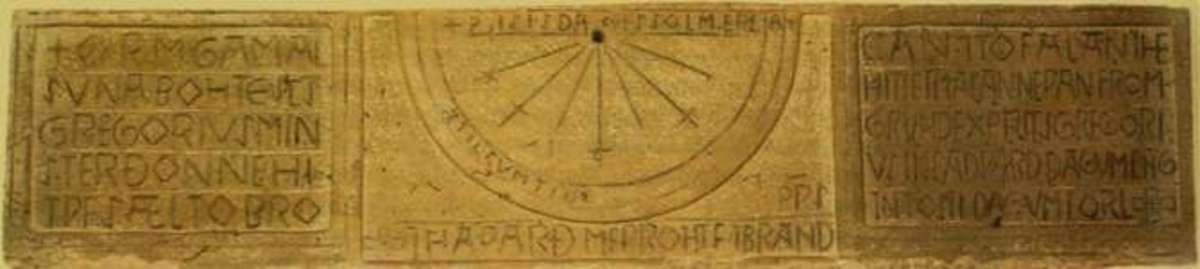 Sundial made by Brand to text laid down by a priest on behalf of the landowner Gamal