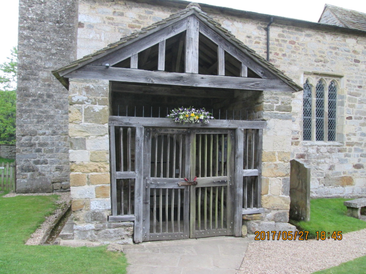 Close-up of the entrance porch on the south side of the church, a timeless monument tucked away from the hurly-burly of modern life