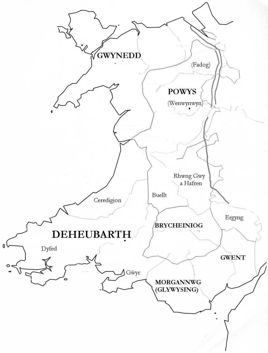 Wales at the time of Eadward's reign in England. Gwynedd is in the north-western quarter, with Anglesey to its north across the Menai Strait