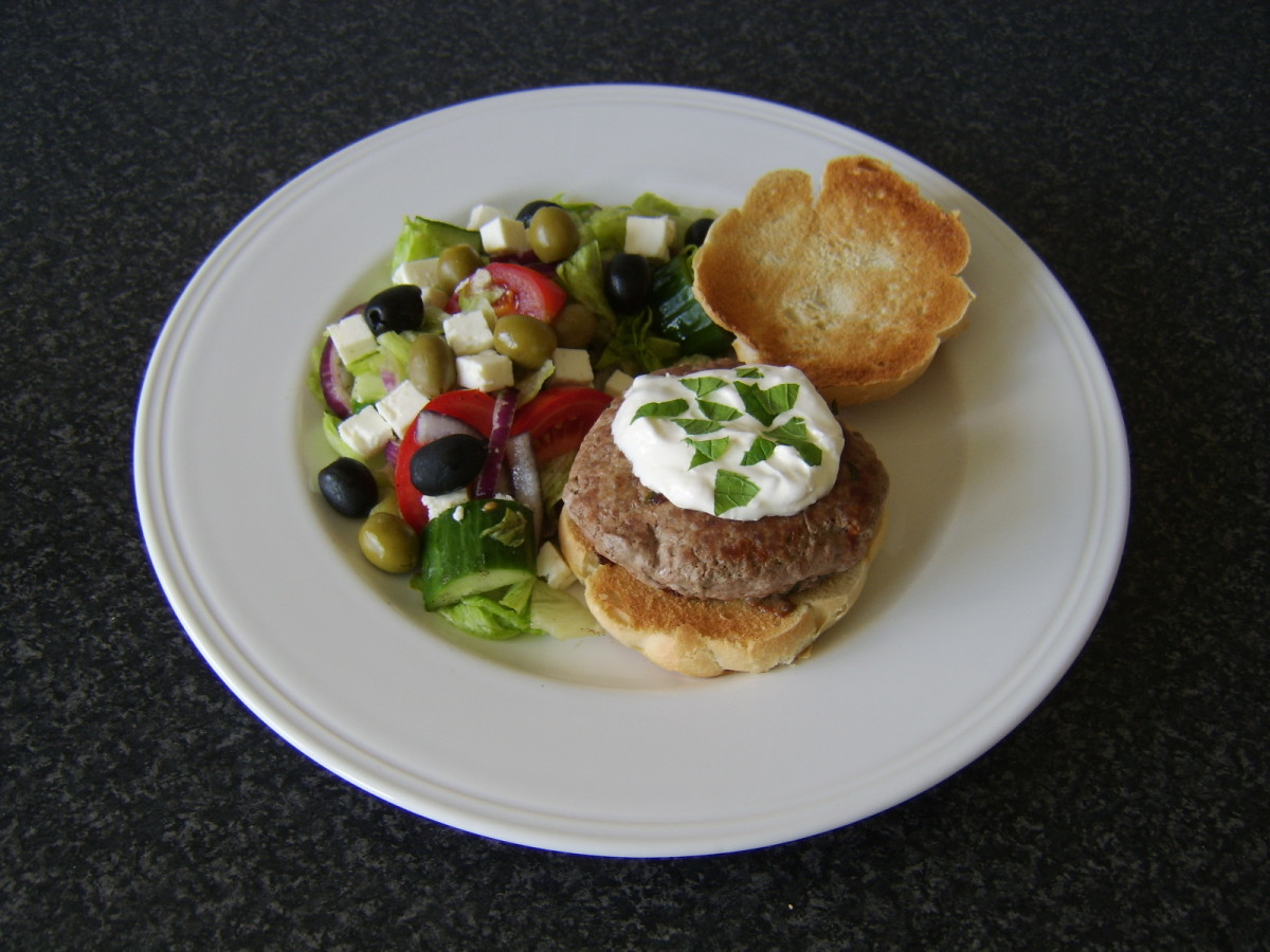 A homemade turkey burger with a Greek style salad is much cheaper and healthier than a fast food burger and fries