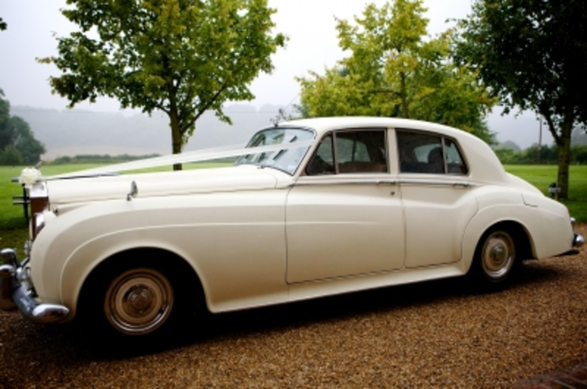 A vintage wedding car