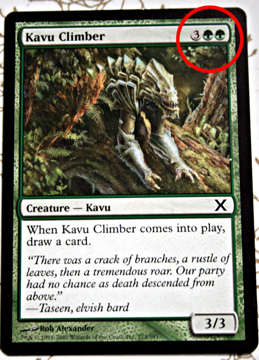 The mana cost is circled to point it out.
