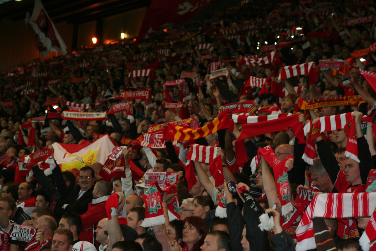 The Kop at Liverpool FC singing You'll Never Walk Alone