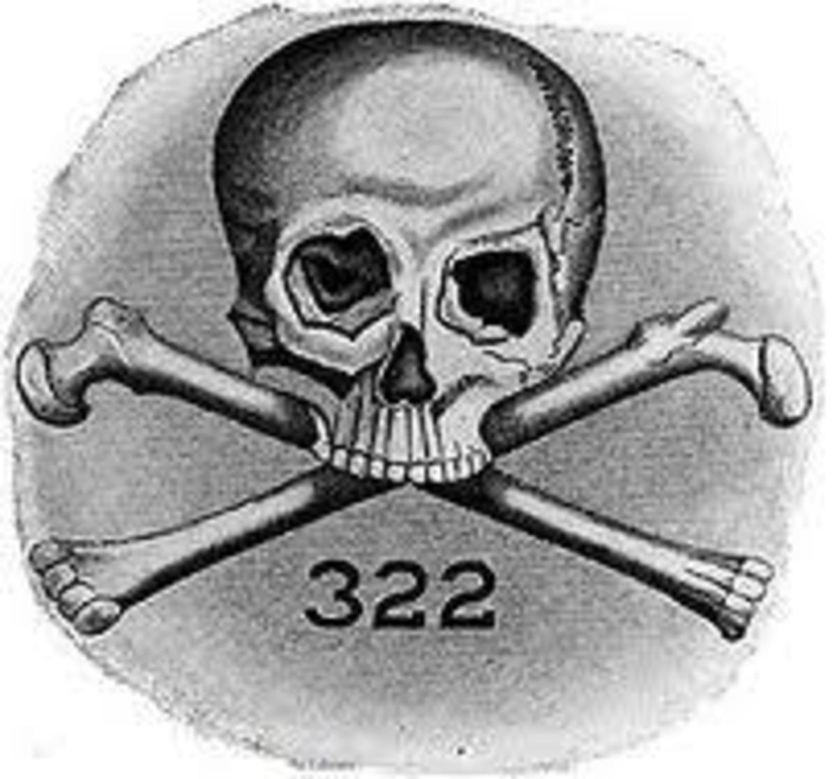 This is the original, and still today, representation of the Skull and Bones Logo of Yale University.