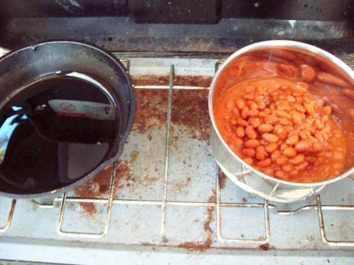 Once eggs and bacon are finished cooking, heat the beans.