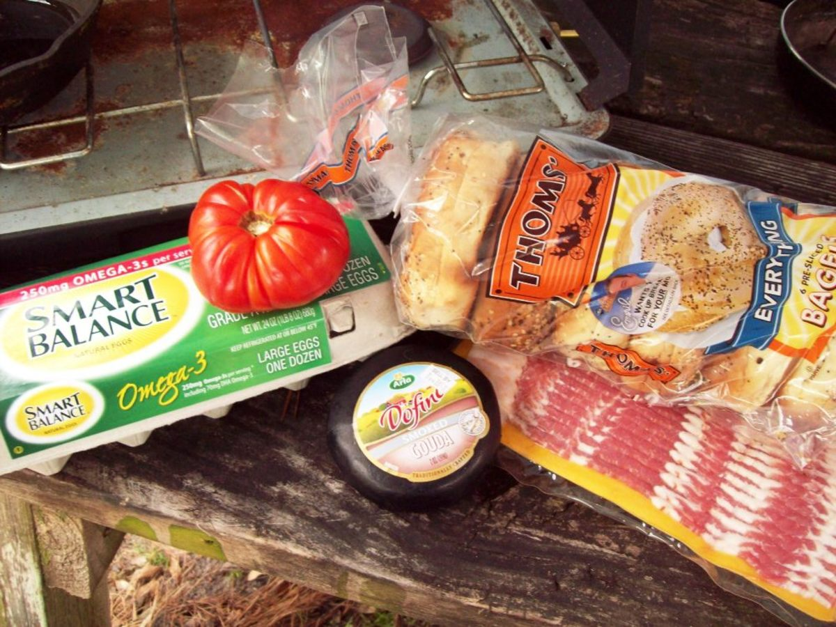 Gather your ingredients.  Everything-bagels are really yummy with this particular meal.