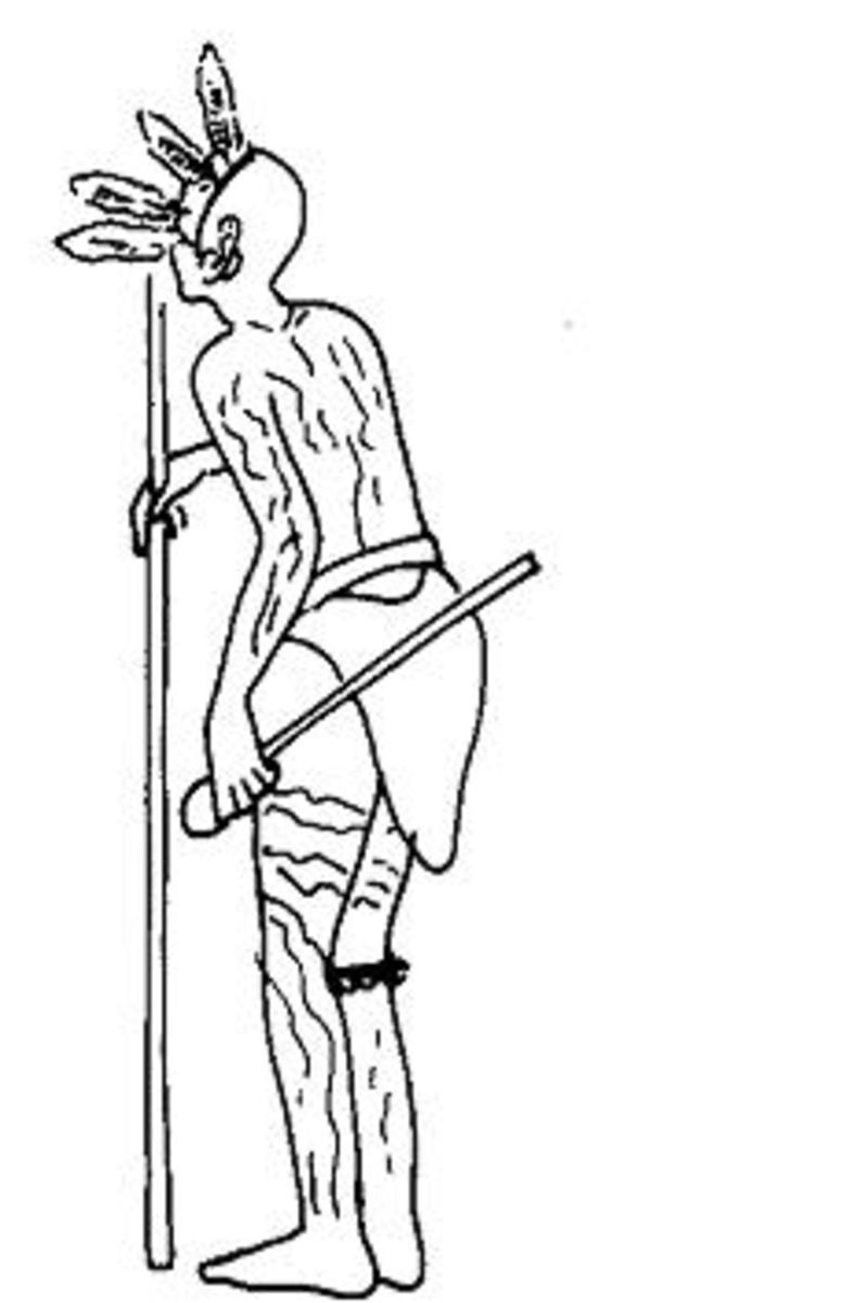 A Kikuyu youth wearing the 'peculiar triangular apron' used in the gichukya dance