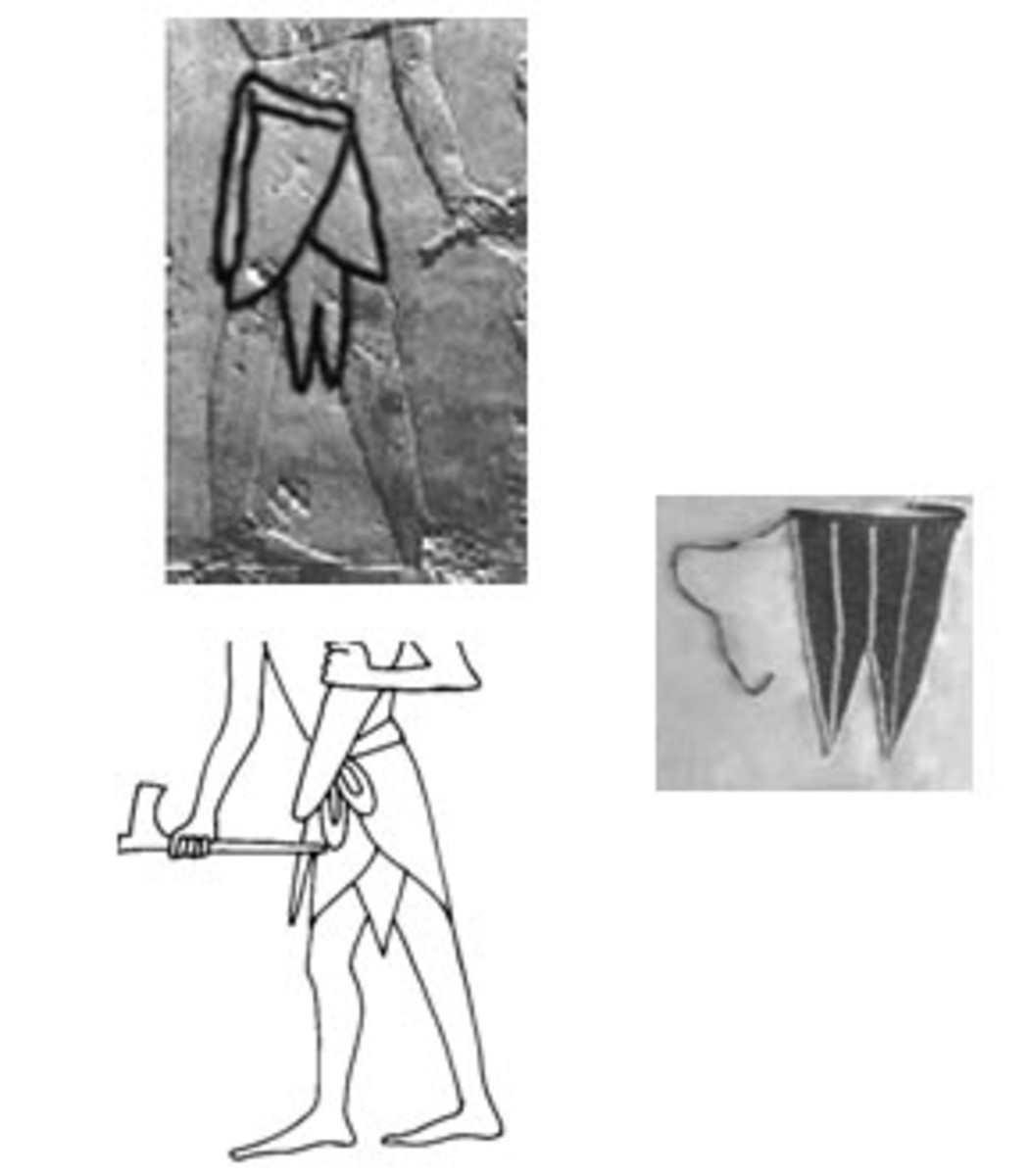 The undergarment aprons sticking from the skirts of a noble from Punt and a soldier from Egypt are similar to the apron on the right that was worn by Kikuyu women as an under-garment (mwengu.)