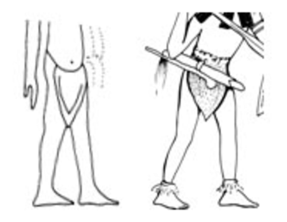 Akhenaten's servant and a Tigania warrior, both wearing the triangular apron
