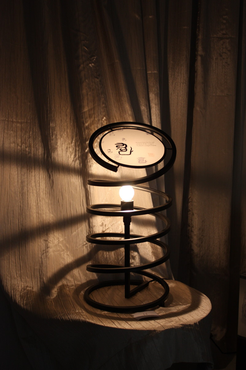 one of the lamps from the dark 'til dawn collection, designed and hand-painted by Peter Zhou (周宇) in response to 30 of Shelly Bryant's haiku