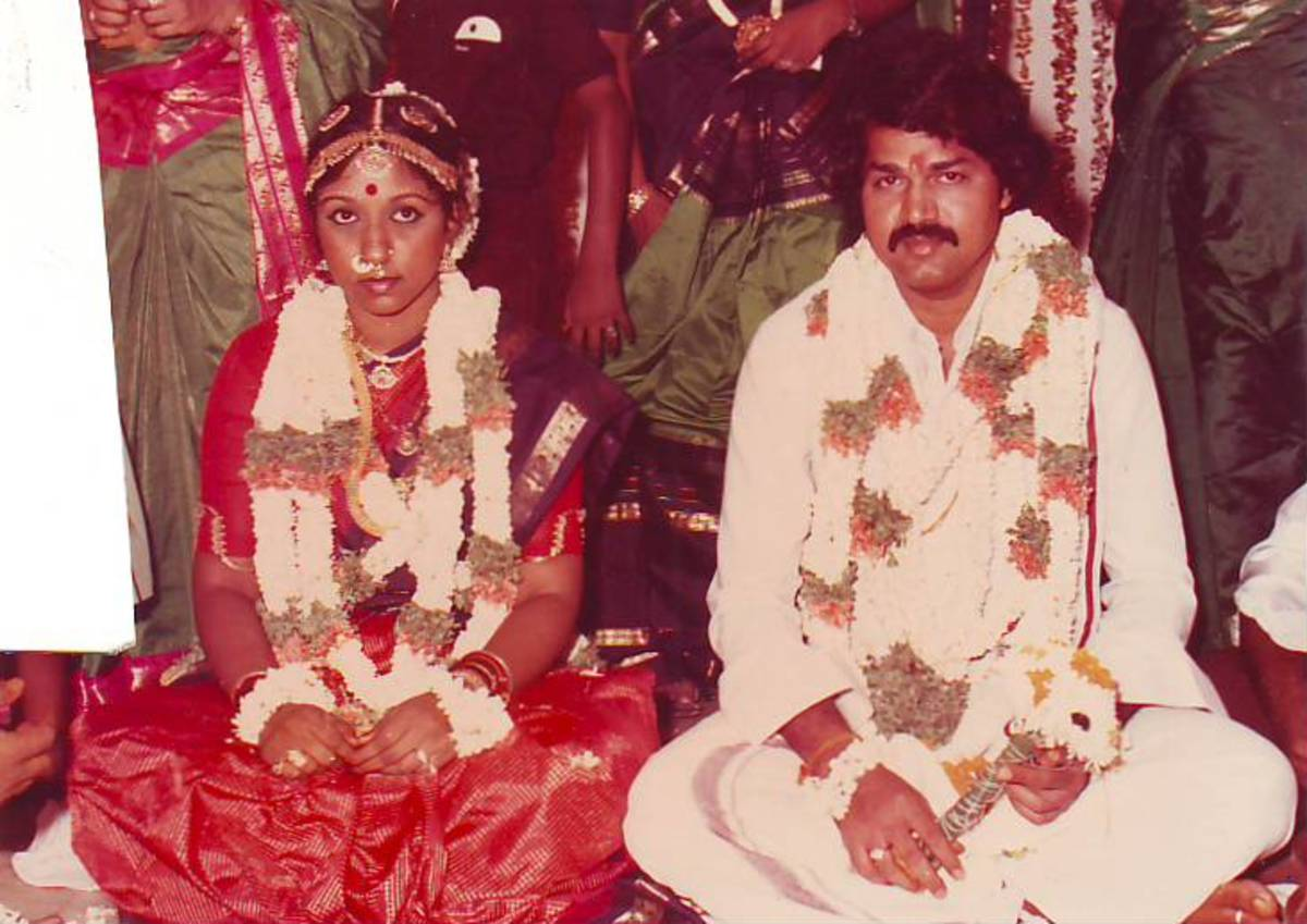 At my parents' wedding, my mother wore temple jewelry including hair accessories, nose-rings, armlets, earrings, necklaces, chain, rings, anklets and bangles