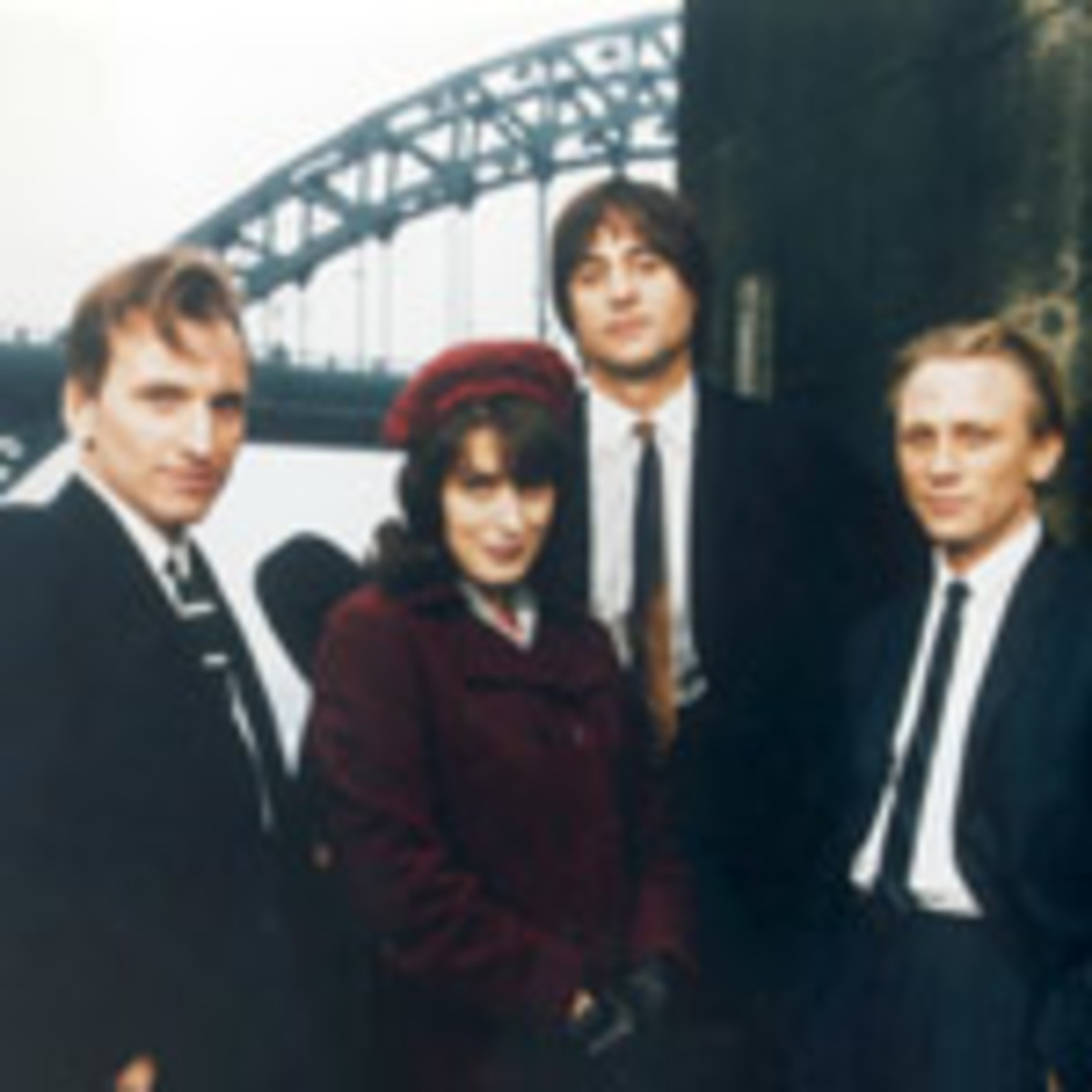Chris Ecclestone, Gina McKee, Mark Strong and Daniel Craig.  In the background, the iconic Tyne Bridge.