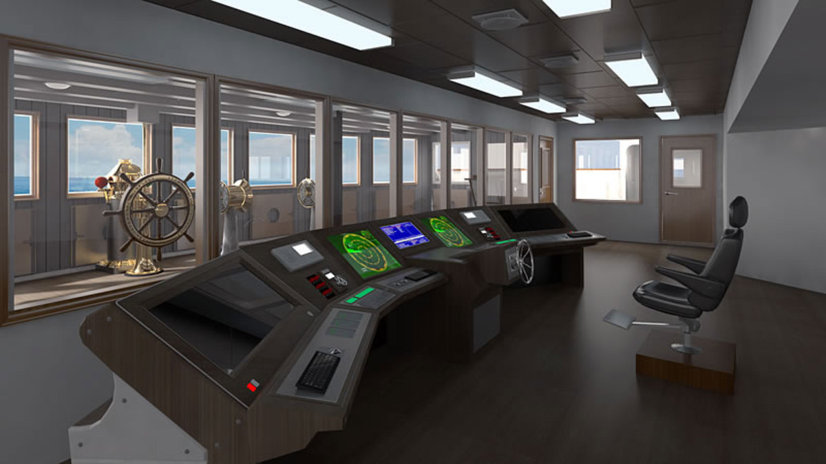 Titanic II's wheelhouse. Note: The recreated telemotor in the now redundant forward wheelhouse.