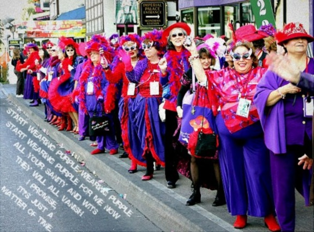 """Ah, the """"Red Hat Society""""... who knew Grandma's have their own """"Gang?"""""""