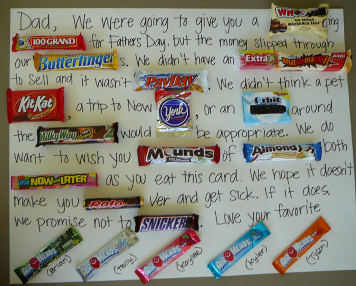 Have you seen these candy bar letters before?  They're both cute and funny.