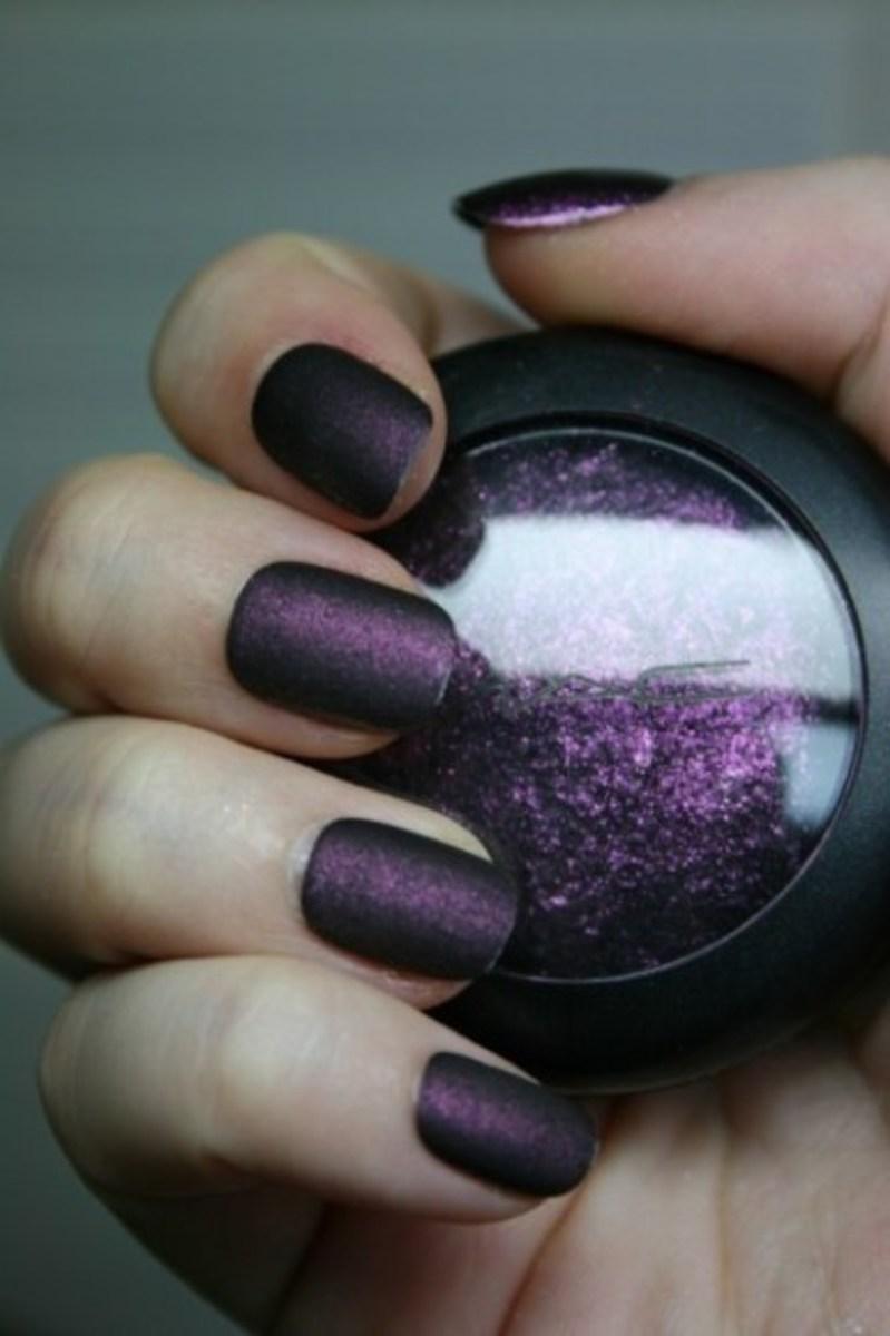 MAC's Young Punk + clear varnish = a delicious matt deep purple