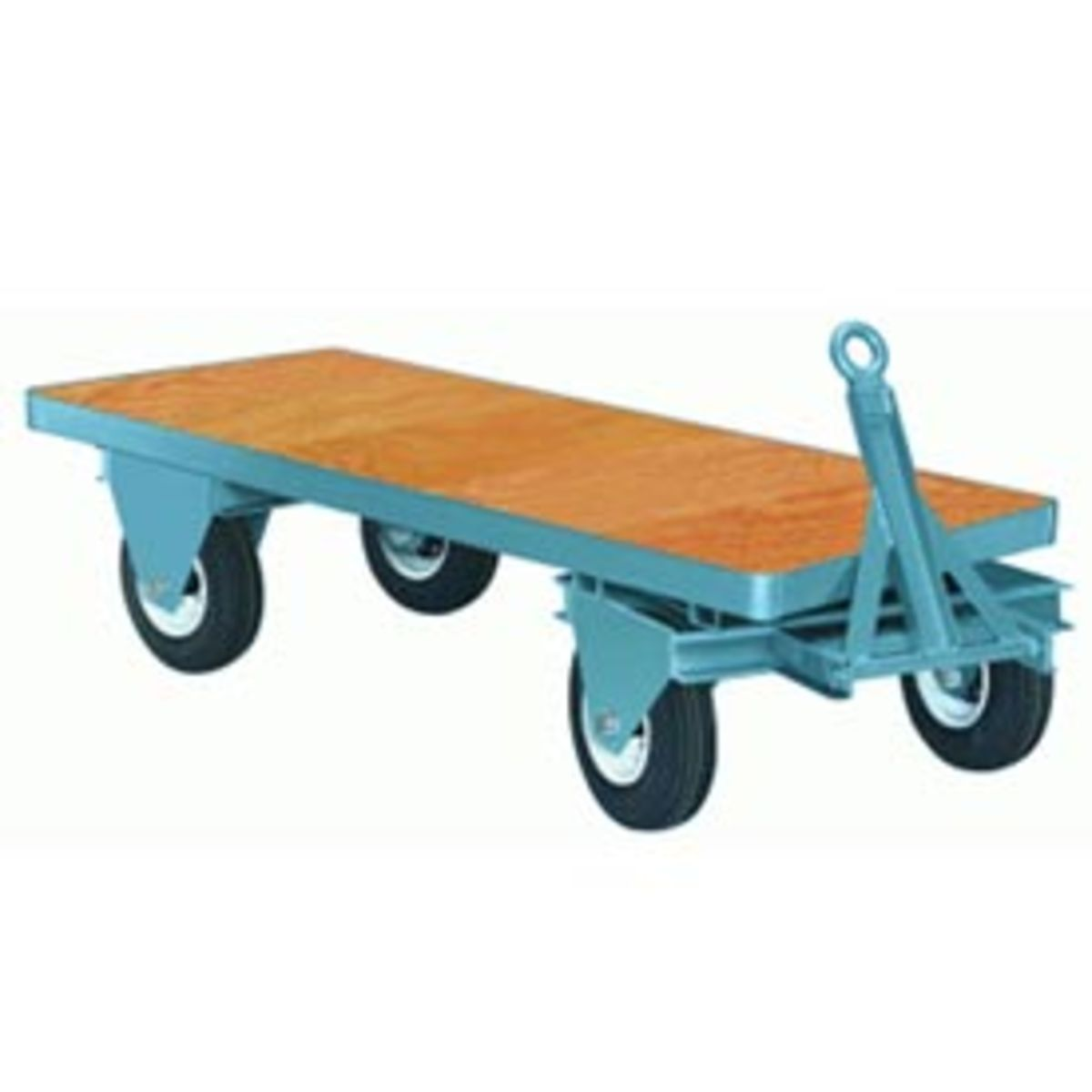 """This 36"""" x 72"""" fifth-wheel-steer trailer features a deck of 1"""" select hardwood with 16 x 4.80-8 6-ply Pneumatic Tires. Trailer designed for power towing. Tapered roller bearings with lube fittings rotate on 1"""" diameter axles."""