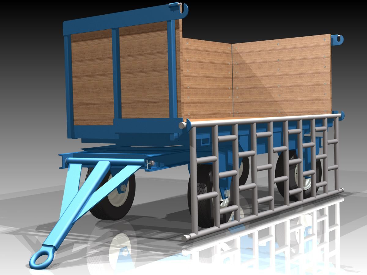 Fifth Wheel Steer Trailer with wood deck and sides and a light weight aluminum gate.