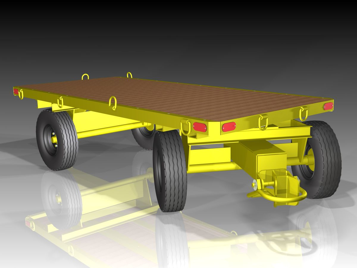 Fifith Wheel Steer Trailer with wood deck mounted inside structural steel frame with rounded corners for clearance.  Couplers are heavy duty automatic bail and jaw. Optional forged steel lashing rings and reflectors.