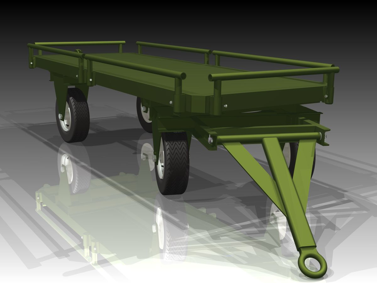 Olive drab Fifth wheel steer trailer with low profile racks to prevent pallets from sliding off.  Hinged loop type coupler with pneumatic rubber tired wheels.