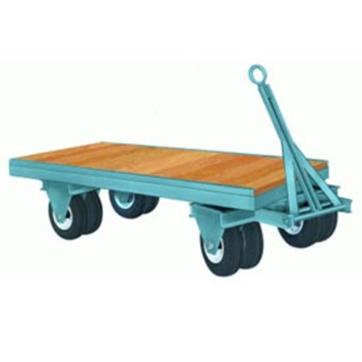 "This 42"" x 84"" fifth-wheel-steer trailer features a deck of 1 ½"" select hardwood with 12"" x 4"" Moldon Rubber wheels. Trailer designed for power towing. 1-1/4"" tapered roller bearings with lube fittings rotate on 1-1/4"" diameter axles........"