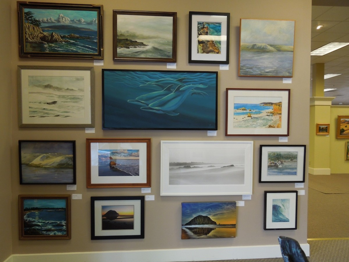 Another wall of art, this time with a seascape theme.