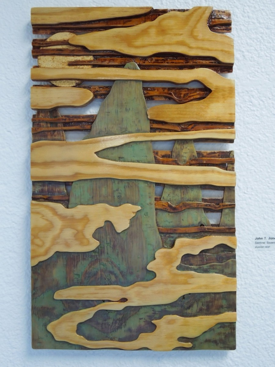 "John T. Jones: ""Sentinel Sisters"" -- A Plywood Relief, was on display at the first Phantom Project in San Luis Obispo on February 3, 2012"