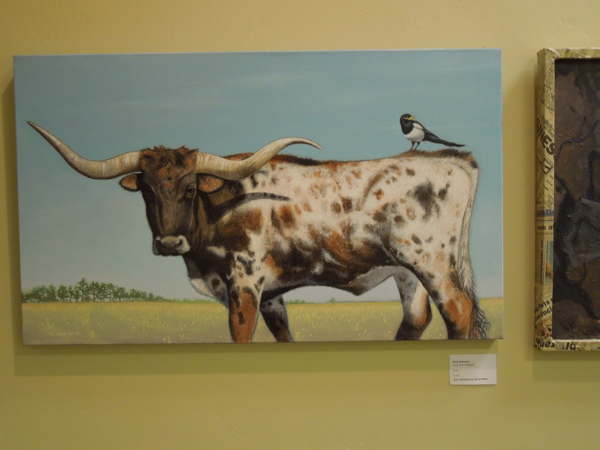 """""""Longhorn and Magpie"""" by Greg Simmons, acrylic"""