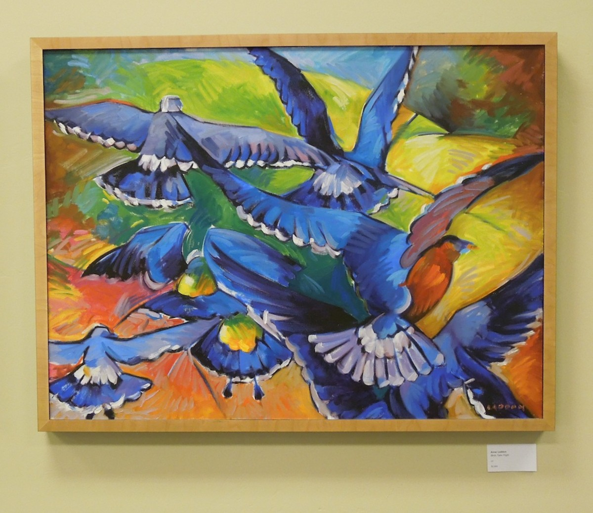"""Birds Take Flight"" by Anne Laddon, oil"