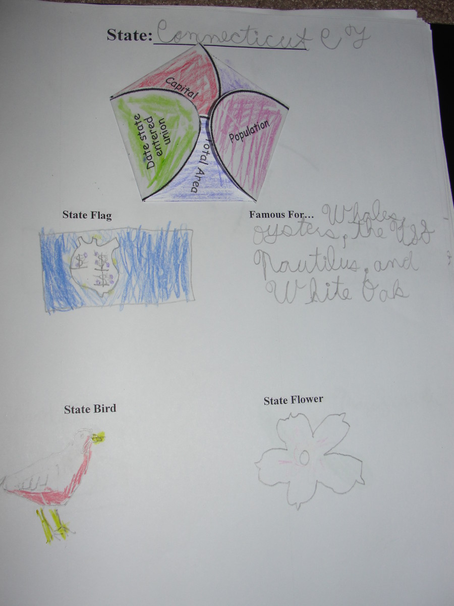 My son's lapbook page from his Connecticut notebook