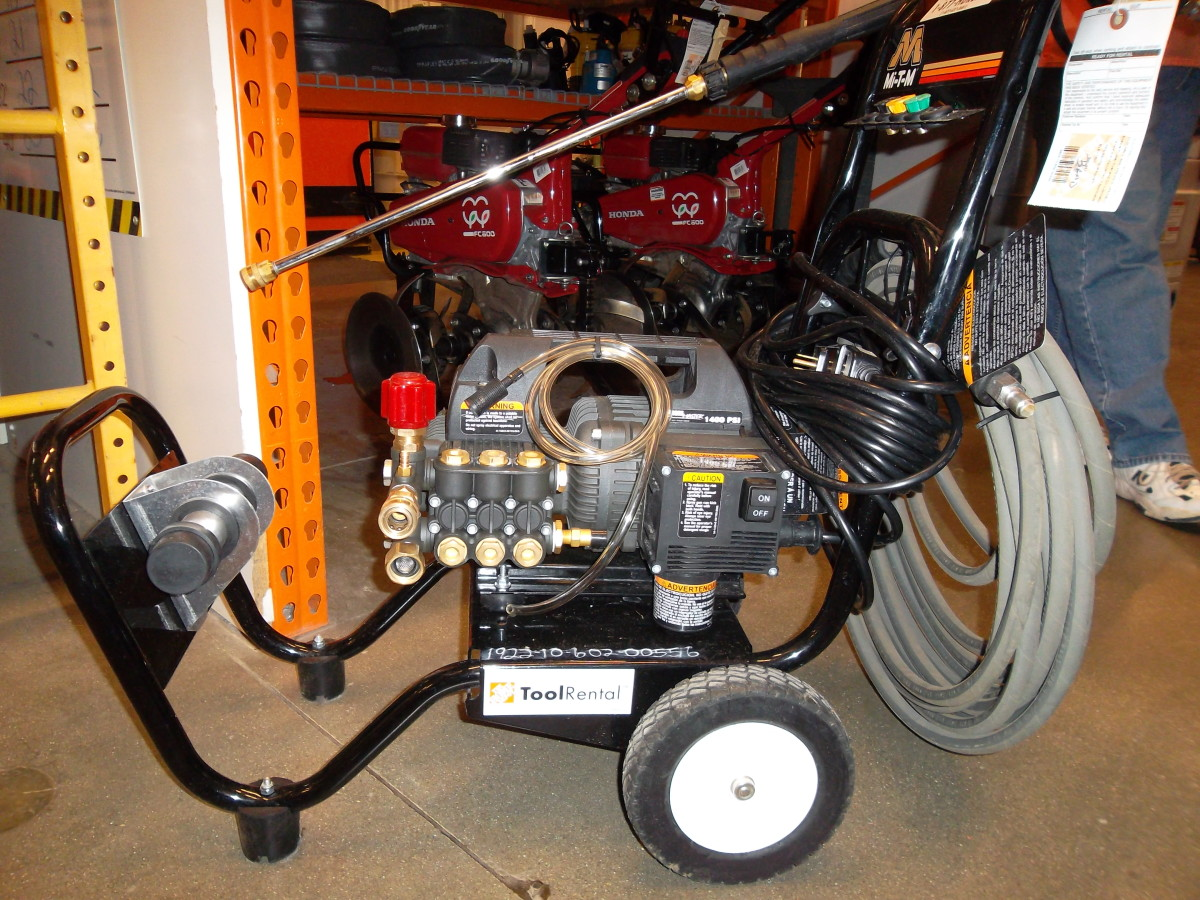 An electric pressure washer for rent