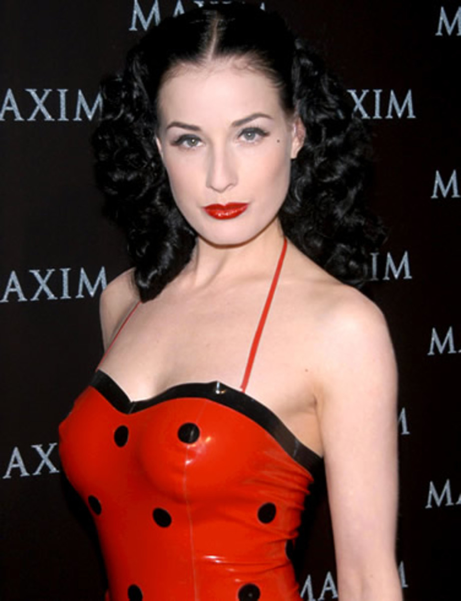 Lip Looks: Dita Von Teese in Dark Red Lipstick on Fair Skin