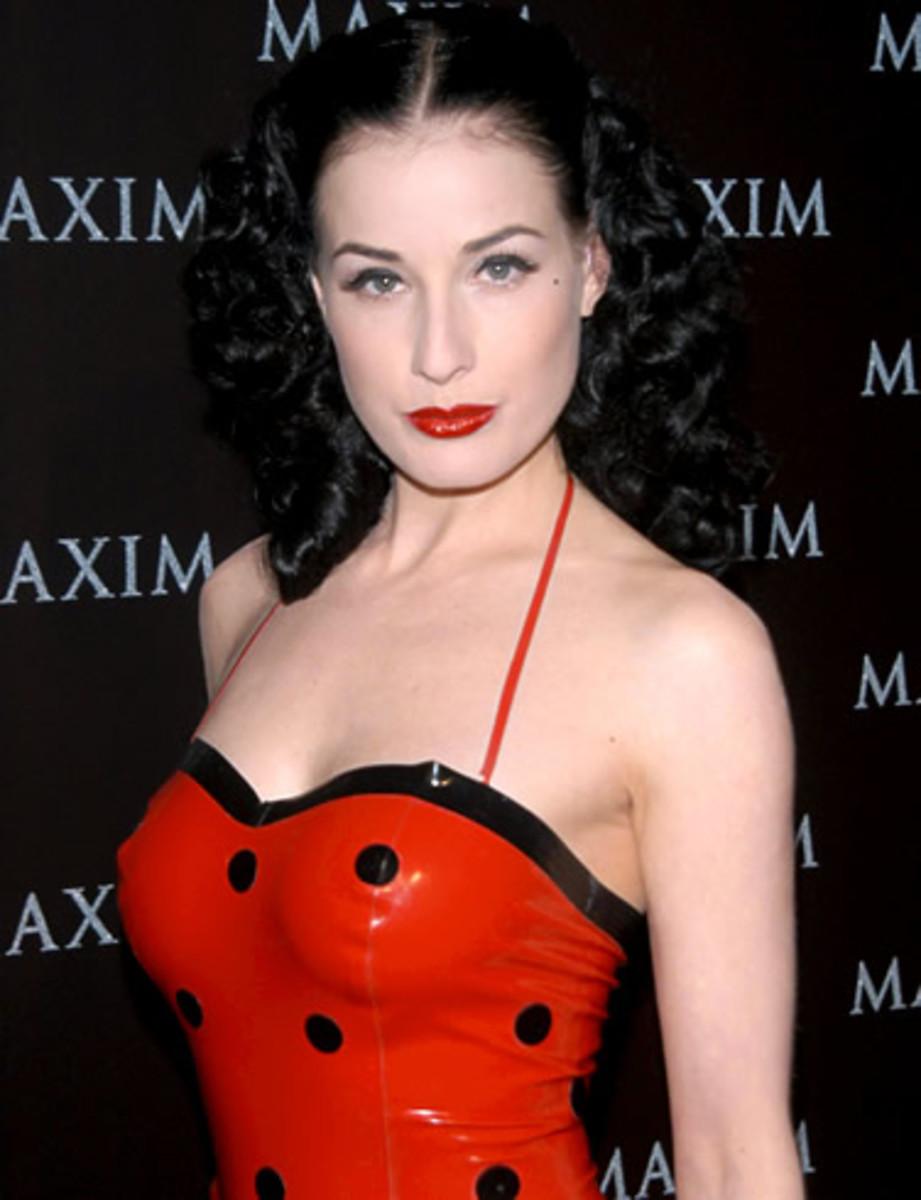 Lip Looks: Dita Von Teese in Dark Red Lipstick on Fair Skin