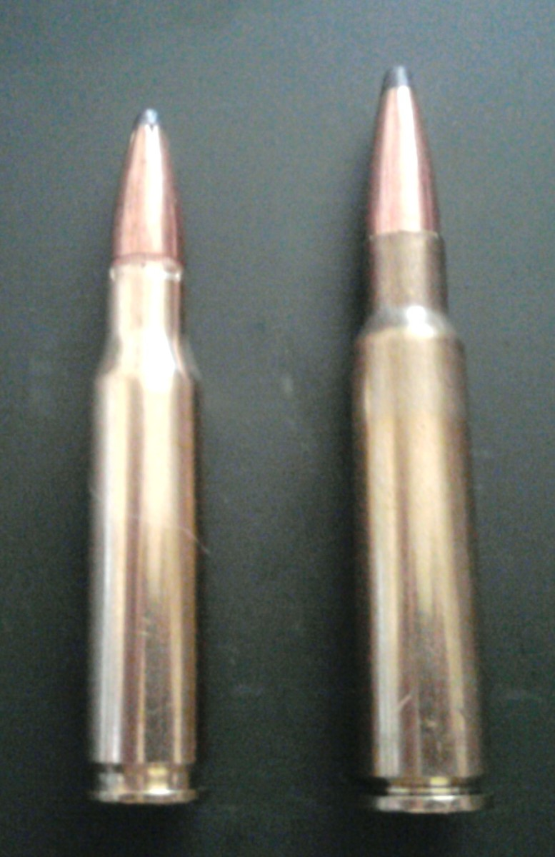 .308 Winchester (left) 7.5x55mm Swiss (right)
