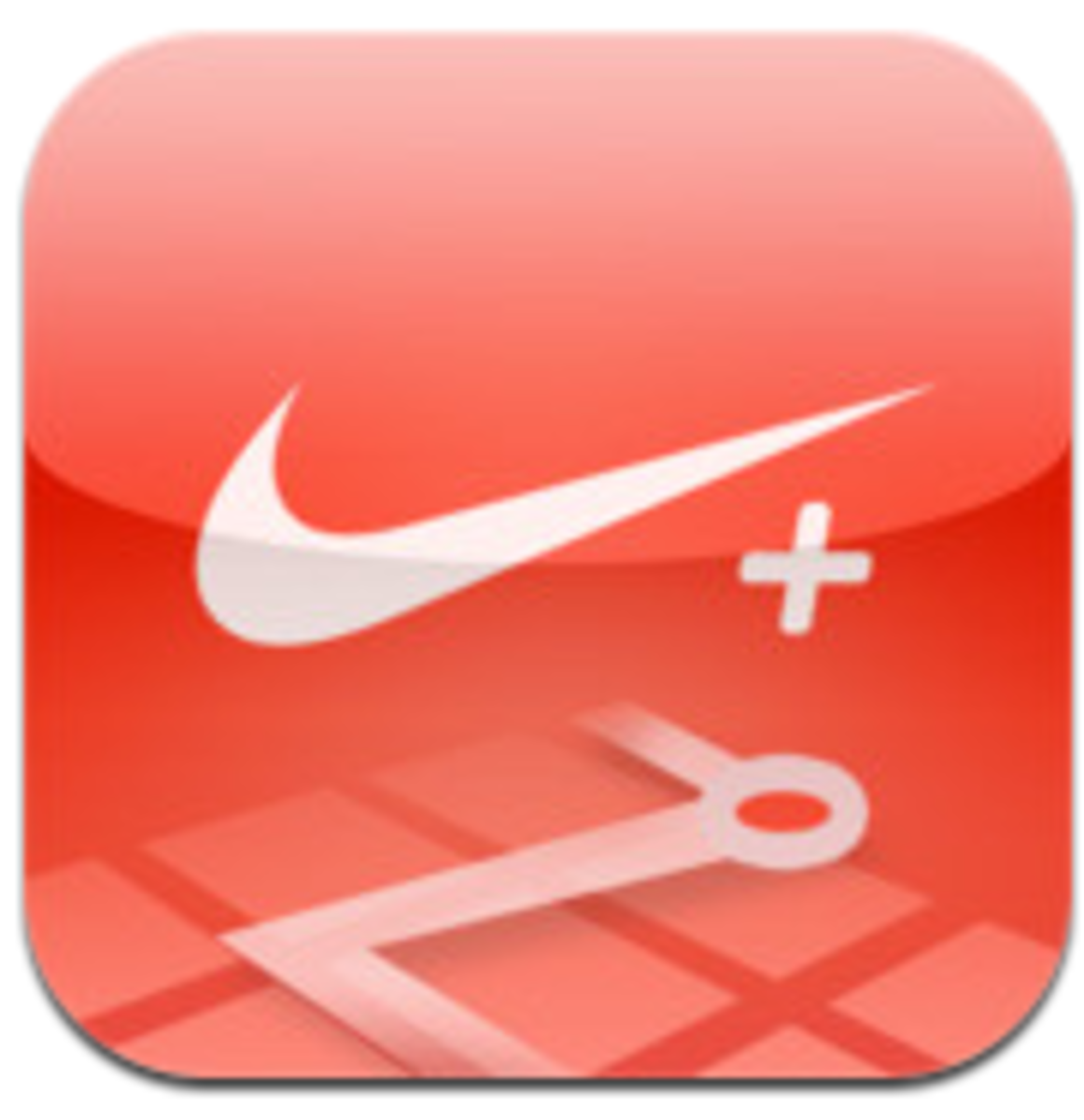 Icon for the Nike+ Running app, available for free on the App store.