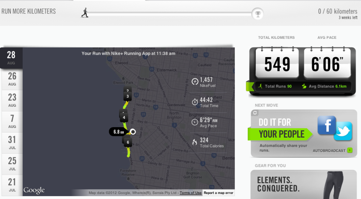 Nike+Running captures all the details of your run, including where you ran, how fast you ran, and how you felt on the day.