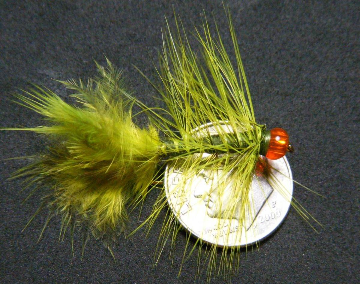 A green woolly bugger with an orange glass bead for contrast and reflectivity.