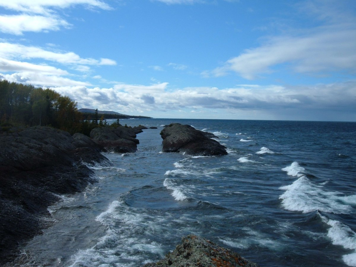 A wide break and then the rock continues along the Lake Superior shoreline of Michigan's Keweenaw Peninsula.