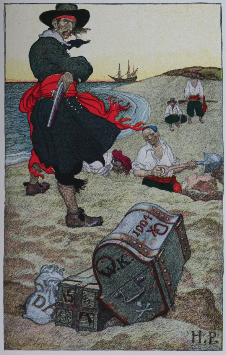 "Buried Treasure: illustration of William ""Captain"" Kidd overseeing a treasure burial"
