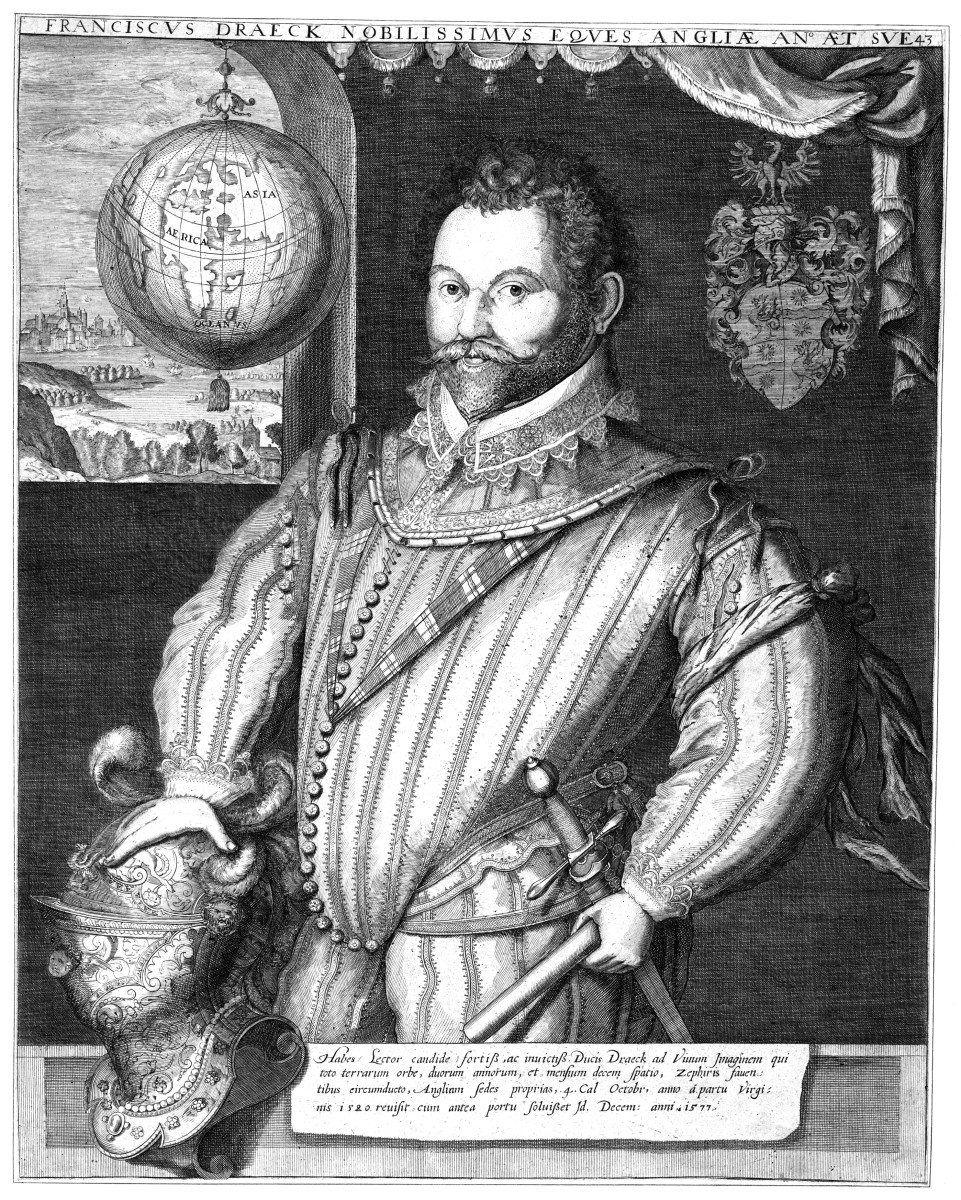 1577 engraving of Sir Francis Drake by Jodocus Hondius.