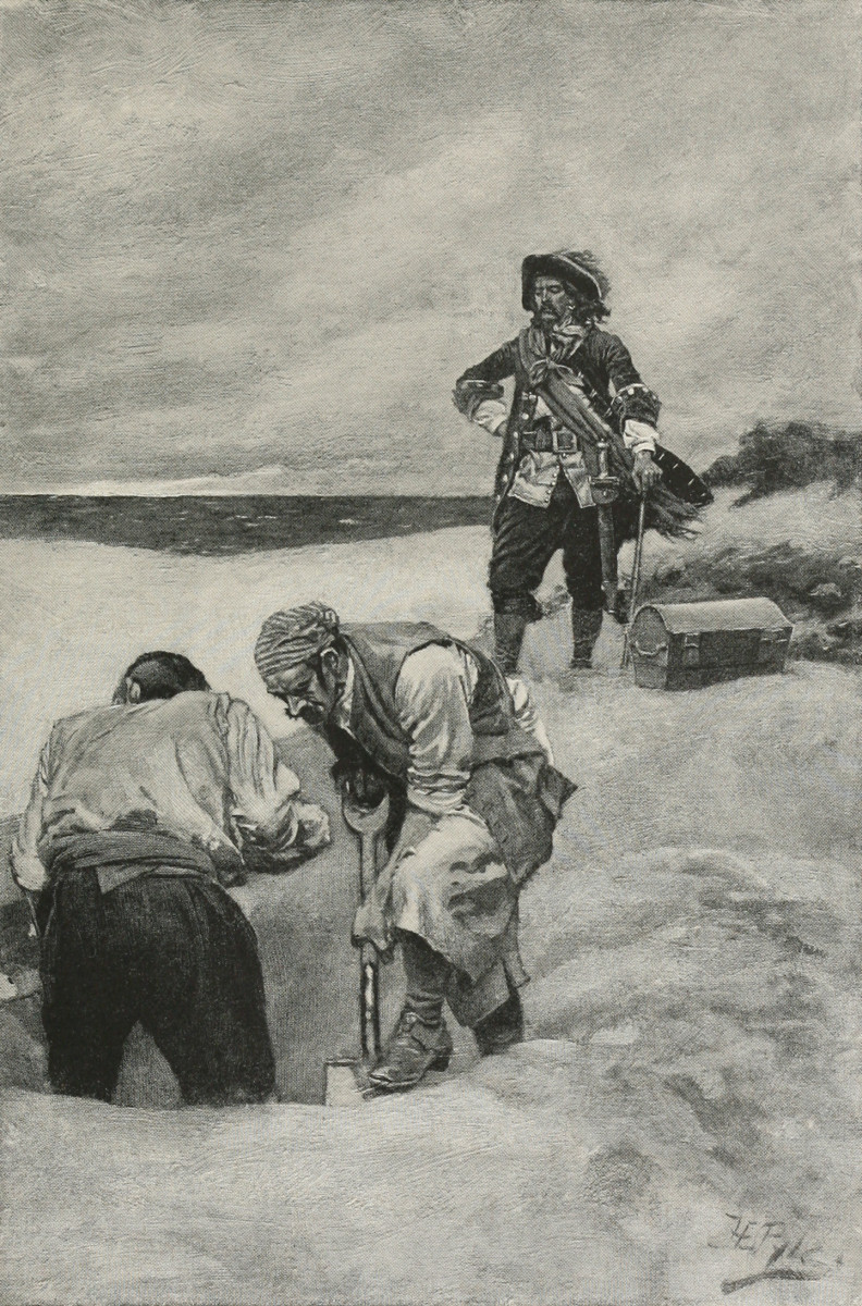Kidd at Gardiner's Island: illustration of pirate captain William Kidd's supervision of the burial of his treasure at Gardiner's Island