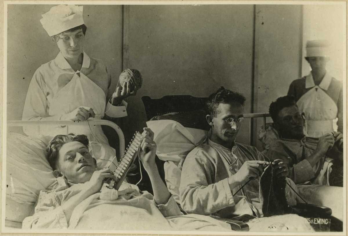 Here, yarn is given to bedridden soldiers as a form of occupational therapy.  Date unknown - probably early 20th century.