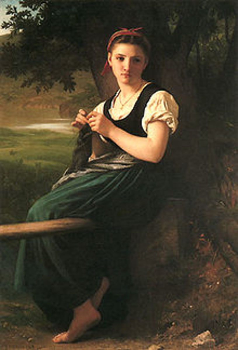 """The Knitting Woman, by William-Adolphe Bougureau.  """"Knitting"""" comes from the Dutch word, knutten, meaning """"knot""""."""