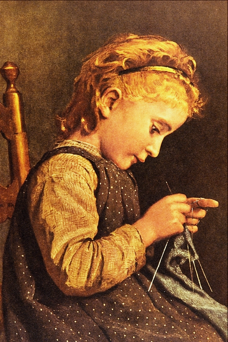 """Little Girl Knitting"" by Albert Anker, 1831-1910"