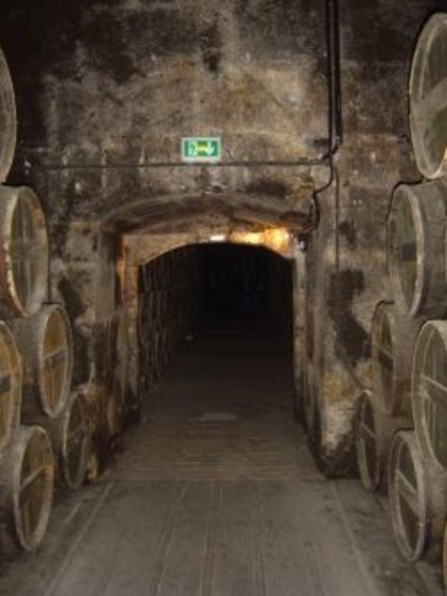 Cognac barrels in Chateau Baron Otard, cognac, France