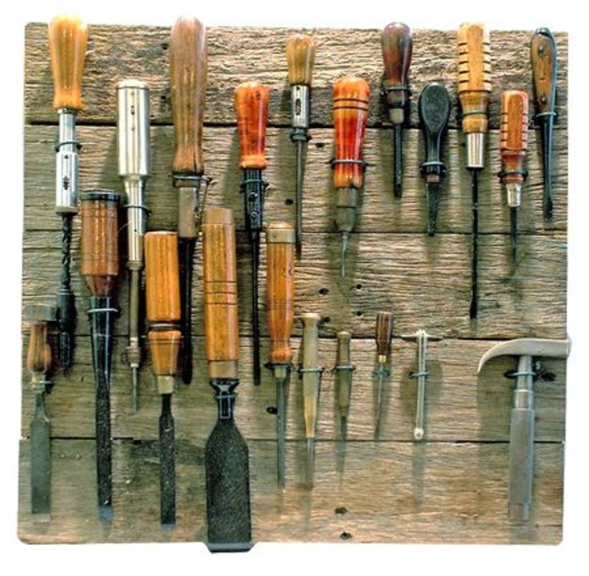 Assorted tools, including chisels