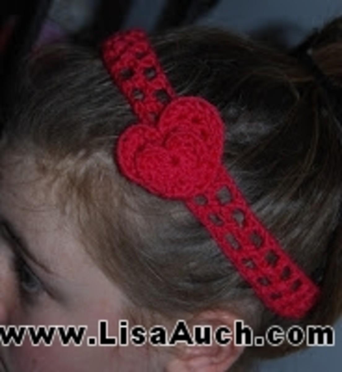 Crochet heart Easy Headband