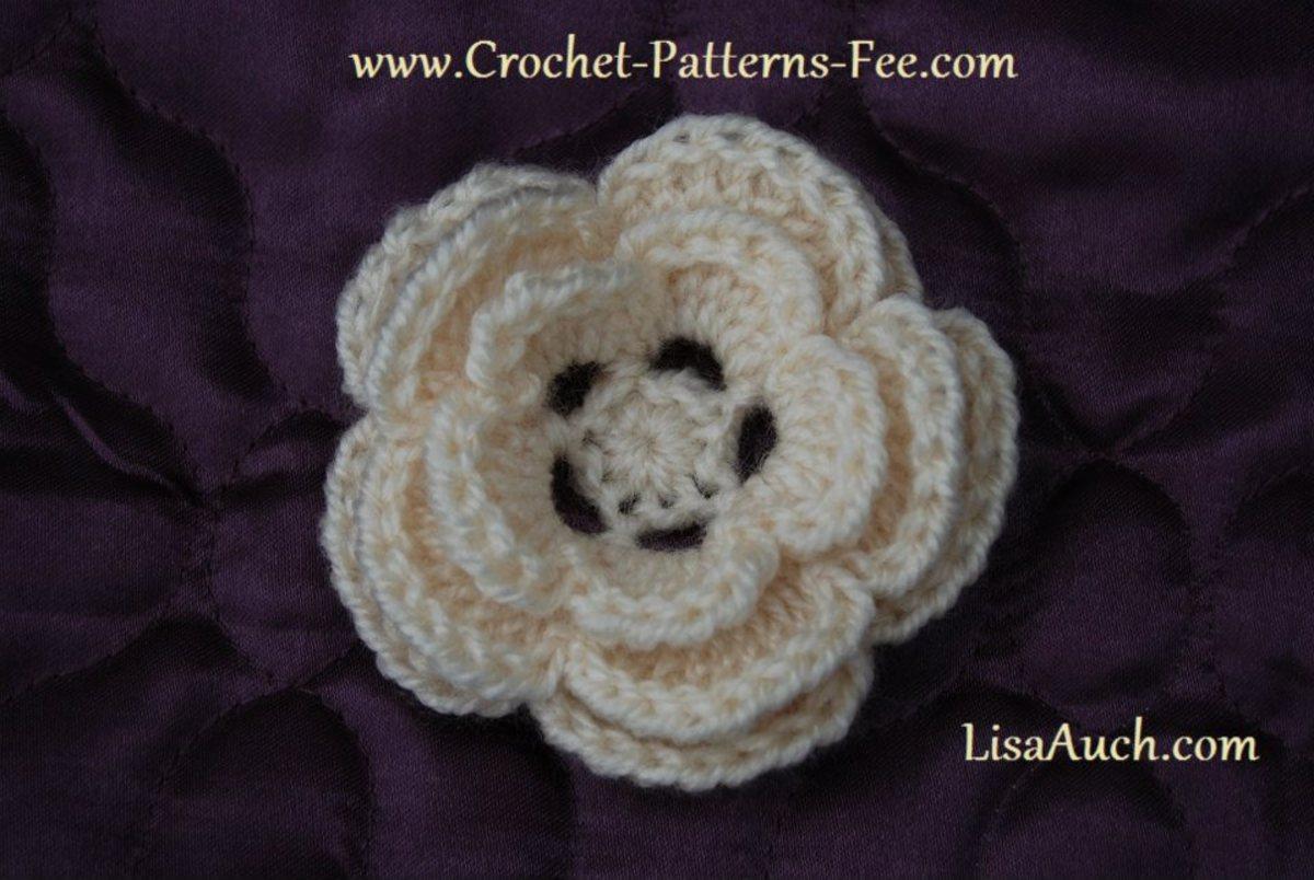 3d (5 petal Crochet Flower Pattern)