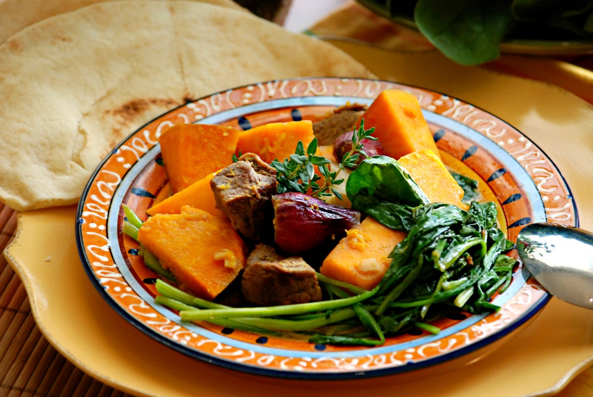 Beef, Red Squash, Spinach in Coconut & Ginger cooked from the crock pot.